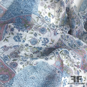 Paisley Patchwork Printed Crinkled Silk Chiffon - Blue/Multicolor - Fabrics & Fabrics