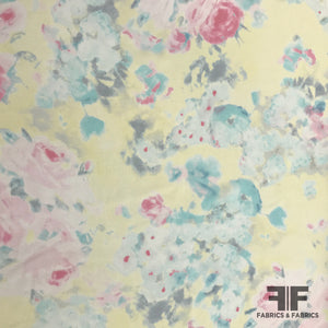 Floral Printed Silk Georgette - Yellow/Pink/Blue - Fabrics & Fabrics