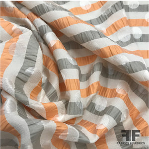 Striped Italian Silk Jacquard - Orange/Beige/White - Fabrics & Fabrics
