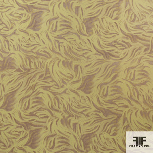 Brushstroke Leaf Silk Printed Georgette - Yellow/Tan - Fabrics & Fabrics NY