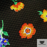 Multicolor Floral Bouquet Printed Cotton Pique - Black