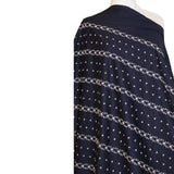 Striped Eyelet Embroidered Cotton - Navy/White