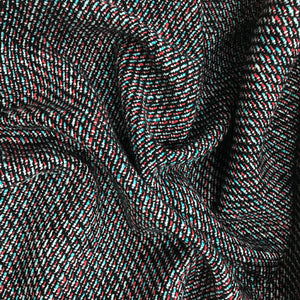 Cotton Tweed - Black/Blue/Red - Fabrics & Fabrics