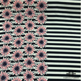 Border Floral & Striped Poly Pique -Navy/Pink/White - Fabrics & Fabrics