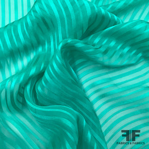 Burnout Silk Striped Jacquard - Teal - Fabrics & Fabrics