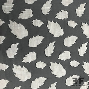 Leaf Design Burnout Silk - Black/Taupe - Fabrics & Fabrics