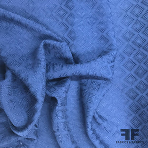 Textured Geometric Cotton - Blue - Fabrics & Fabrics