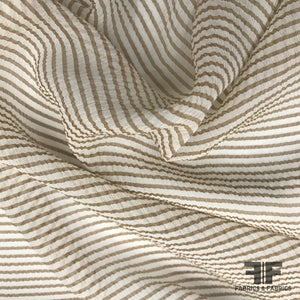 Italian Striped Crinkled Silk Chiffon - Brown/Ivory - Fabrics & Fabrics