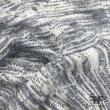 Abstract Printed Silk Georgette - Navy/White - Fabrics & Fabrics
