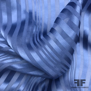 Striped Silk Burnout Jacquard - Blue - Fabrics & Fabrics