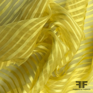 Striped Silk Burnout Jacquard - Yellow - Fabrics & Fabrics