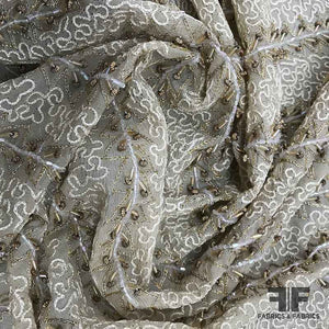 Couture Beaded & Embroidered Silk Georgette - Beige - Fabrics & Fabrics