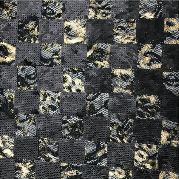 Metallic Sequin Checkerboard Lace - Black/Gold - Fabrics & Fabrics