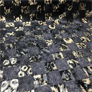 Metallic Sequin Checkerboard Lace - Black/Gold