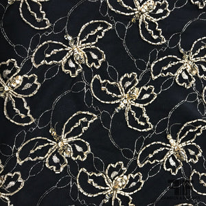 Couture Butterfly Beaded Netting - Black/Gold