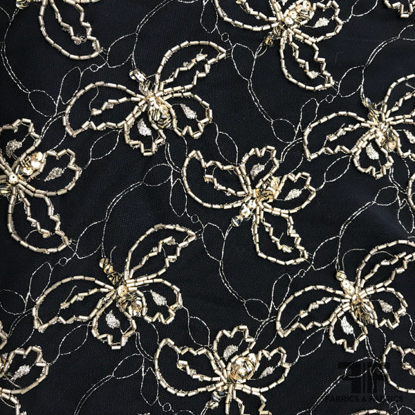 Couture Butterfly Beaded Netting - Black/Gold - Fabrics & Fabrics