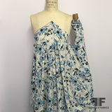Graphic Floral Printed Rayon Georgette - Blue/White - Fabrics & Fabrics
