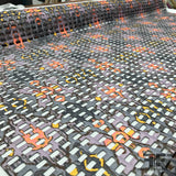 Perforated Abstract Printed Novelty - Orange/Grey - Fabrics & Fabrics