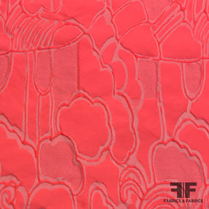 Italian Metallic Abstract Brocade - Hot Pink - Fabrics & Fabrics