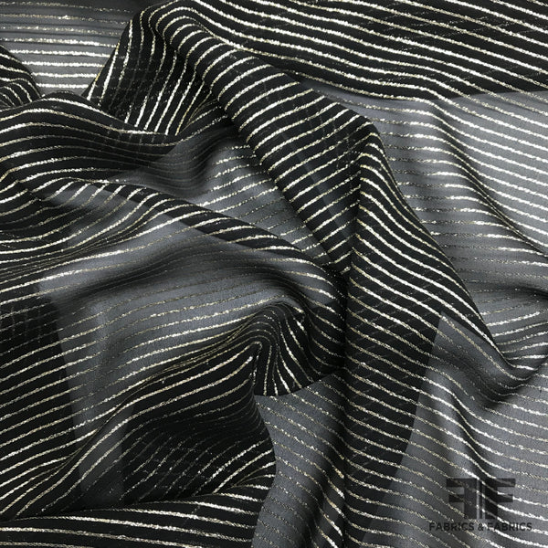 Metallic Italian Striped Silk Chiffon - Gold/Black - Fabrics & Fabrics