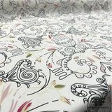 Abstract Printed Silk Georgette - White/Black/Pink - Fabrics & Fabrics