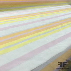 Sherbert Striped Silk Organza - Sheer/Pink/Orange/Yellow - Fabrics & Fabrics