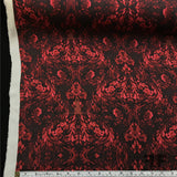 Silk Georgette Damask with Cow Skull Print - Red/Black - Fabrics & Fabrics