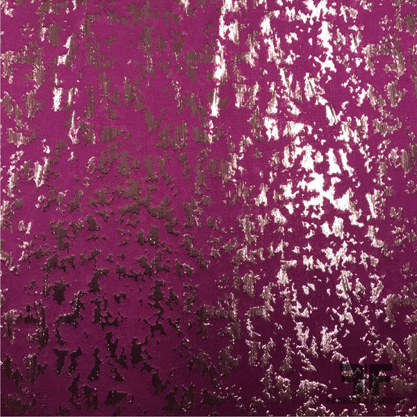 Metallic Abstract Silk Jacquard - Purple/ Copper - Fabrics & Fabrics