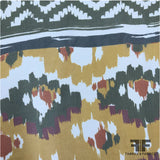 Large Scale Tribal Printed Crinkled Silk Chiffon - Multicolor