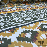 Large Scale Tribal Printed Crinkled Silk Chiffon - Multicolor - Fabrics & Fabrics