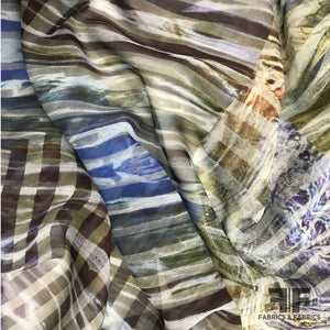 Abstract Striped Silk Chiffon - Multicolor - Fabrics & Fabrics