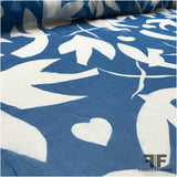 Crinkled Silk Chiffon Large-Scale Bird Print - Blue/White - Fabrics & Fabrics