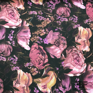 Large Floral Printed Silk Georgette - Purple/Black - Fabrics & Fabrics