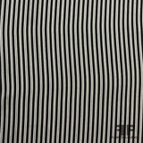 Italian Striped Silk Crepe de Chine - Black & White - Fabrics & Fabrics