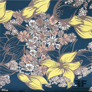 Floral Printed Georgette - Navy/Yellow/Pink/Taupe