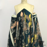 Floral Printed Georgette - Navy/Yellow/Pink/Taupe - Fabrics & Fabrics