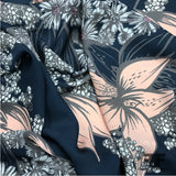 Floral Printed Georgette - Navy/Pink/Taupe/White