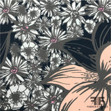Floral Printed Georgette - Navy/Pink/Taupe/White - Fabrics & Fabrics