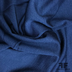 Fine Medium Weight Wool Solid Knit - Navy - Fabrics & Fabrics