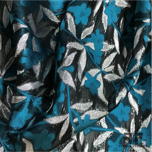 Italian Metallic Burnout Organza - Teal/Silver/Black