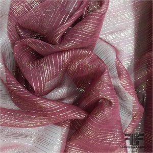Metallic Silk Chiffon - Burgundy/Gold Striped - Fabrics & Fabrics