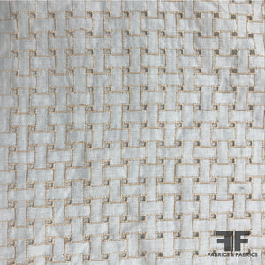 Italian Eyelet Cotton Lawn Basketweave Embroidered - White/Tan - Fabrics & Fabrics