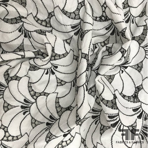 Abstract Cotton Eyelet - Black & White