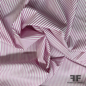 Striped Cotton Shirting - Pink/White - Fabrics & Fabrics