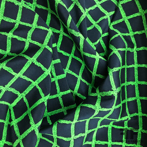 Window Pane Check Stretch Silk Printed Crepe de Chine - Green/Navy - Fabrics & Fabrics