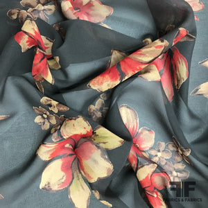 Tropical Floral Printed Silk Chiffon - Black/Red/Tan - Fabrics & Fabrics