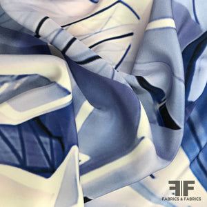 Abstract Printed Silk Crepe - Blue/White - Fabrics & Fabrics