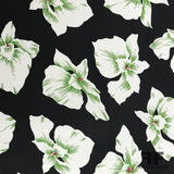Tropical Floral Printed Silk Georgette - Black/White/Green