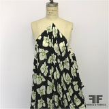 Tropical Floral Printed Silk Georgette - Black/White/Green - Fabrics & Fabrics