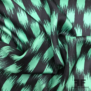 Abstract Printed Silk Twill - Navy/Teal - Fabrics & Fabrics